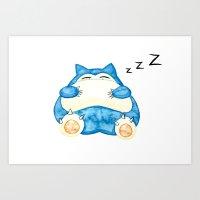 snorlax Art Prints featuring Sleepy Snorlax Print by Wine Lips