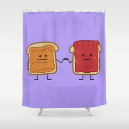 Peanut Butter and Jelly Fist Bump Shower Curtain