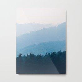 Parallax Mountain Hills Blue Hues Minimal Modern Landscape Photo Metal Print