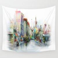 street Wall Tapestries featuring street by tatiana-teni