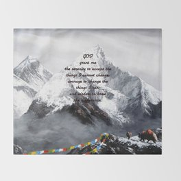 Serenity Prayer With Panoramic View Of Everest Mountain Throw Blanket
