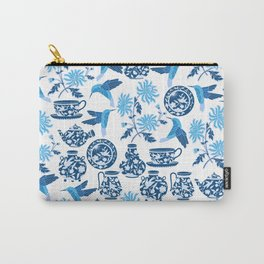 Blue Hummingbirds and Flowers Carry-All Pouch