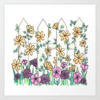 Flowers on Fence Art Print