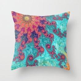 Rainbow Fractal Throw Pillow