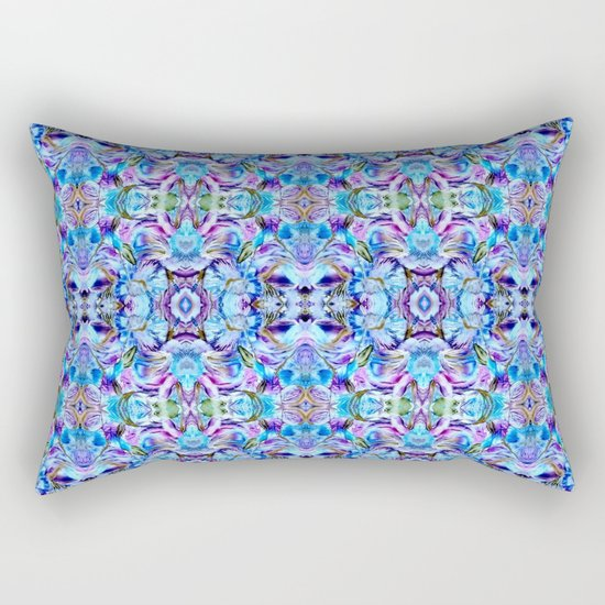 Turquoise Blue Flower Girly  Pattern Rectangular Pillow