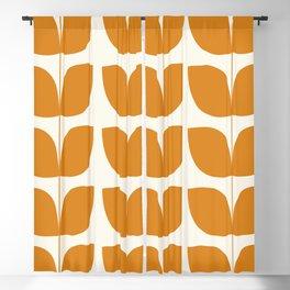 Mid Century Modern Leaves Orange Blackout Curtain