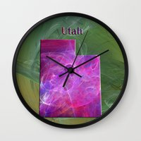 utah Wall Clocks featuring Utah Map by Roger Wedegis
