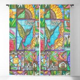 Hummingbird Quilt Square Blackout Curtain
