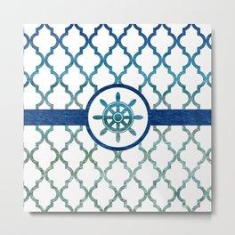 Ship Helm: Tropical Water Moroccan Pattern Metal Print