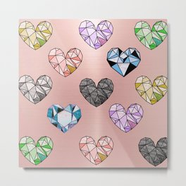 colorful gemstone hearts Metal Print