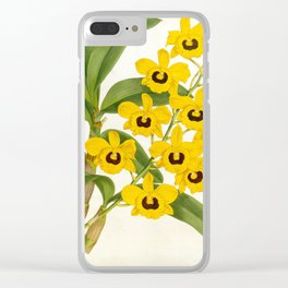 Vintage Yellow Leafy Orchids Lindenia Collection Clear iPhone Case