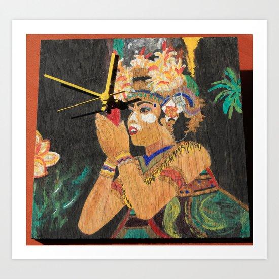 The Temple Dancer Clock Art Print