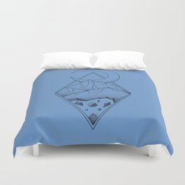 Geometric mountain in a diamonds with moon (tattoo style - black and white) Duvet Cover