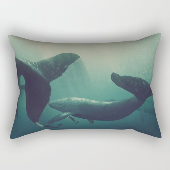 Swimming with whales Rectangular Pillow