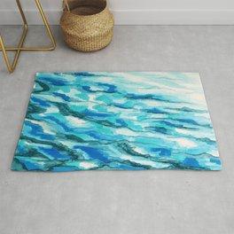 blues waves rolling Rug