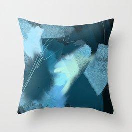 Midnight Blossom: an abstract, mixed media piece in dark and light blue / greens by Alyssa Hamilton Throw Pillow