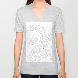 Line Art Monstera Leaves Unisex V-Neck