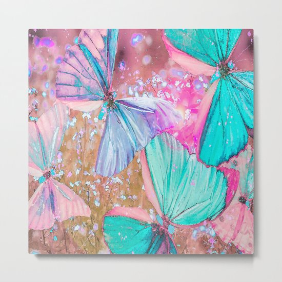 Turquoise butterflies on a pink background - lovely summer mood Metal Print