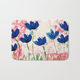 Wild flowers blue collage Bath Mat