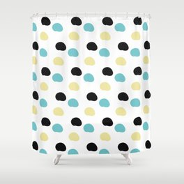 Blue and yellow polka dots Shower Curtain