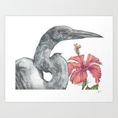 Egret with Hibiscus Art Print