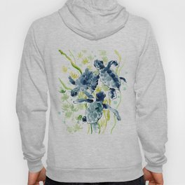 Sea Turtles , Indigo Blue Olive green Turtle art Hoody