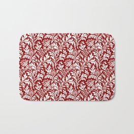 William Morris Thistle Damask, Dark Red and White Bath Mat