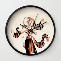 enjolras Wall Clocks featuring Ideas are bulletproof by 23242322