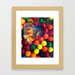 Modern Art Print Of Squirrel In Gumballs Framed Art Print