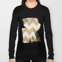 Biscotti & Vanilla - Beige Chevron Long Sleeve T-shirt