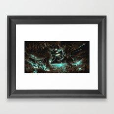 Godzilla vs Kingkong Brown Blue  Framed Art Print