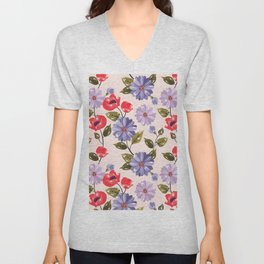 Pastel red blue lilac hand painted elegant floral pattern Unisex V-Neck