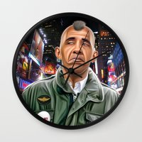 taxi driver Wall Clocks featuring Obama taxi driver by IvándelgadoART