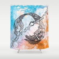 daria Shower Curtains featuring mermaid by Dar'ya Vlasova