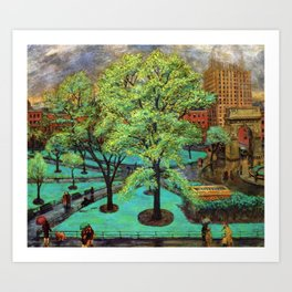 """Classical Masterpiece 'Spring, Washington Square, NYC"""" by John French Sloan Art Print"""