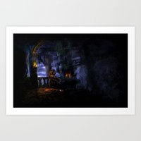 castlevania Art Prints featuring Castlevania: The Bridge by FirebornForm