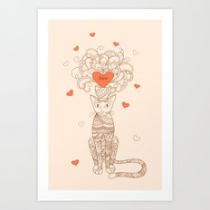 zen cat with flower and heart Art Print