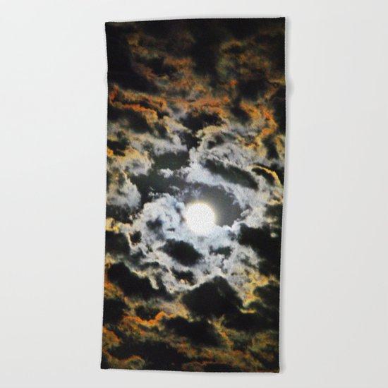 Tiger Full Moon Beach Towel