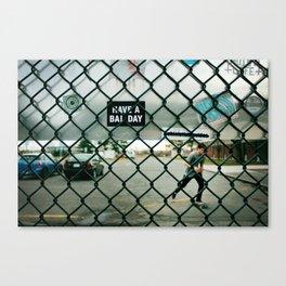 Behind a skate park fence Canvas Print