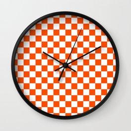 Small Checkered - White and Dark Orange Wall Clock