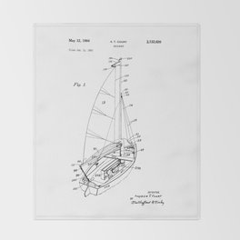 patent art Court Sailboat 1964 Throw Blanket