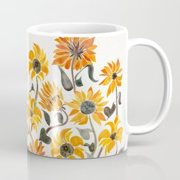 Sunflower Watercolor – Yellow & Black Palette Coffee Mug