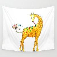 giraffe Wall Tapestries featuring Giraffe by gunberk