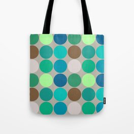 Mid-Century Giant Dots, Jade, Blue and Taupe Tote Bag