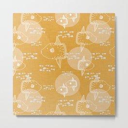 Mola Mola Yellow-Ocean sunfish Metal Print