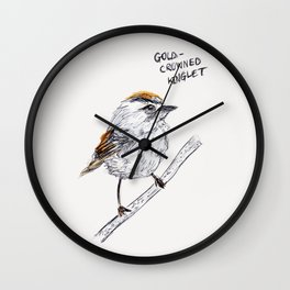 Gold-Crowned Kinglet Wall Clock