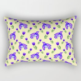 Pretty cute little wild blue birds, red blooming garden tulips, nature flowers bright sunny yellow pattern. Hello spring. Gifts for tulip lovers. Botanical floral artistic design. Rectangular Pillow