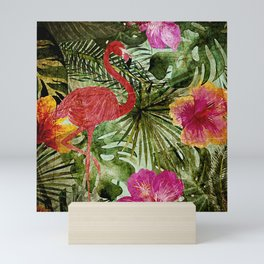 Tropical Vintage Exotic Jungle- Floral and Flamingo watercolor pattern Mini Art Print