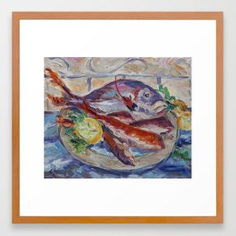 Fish Dish Framed Art Print