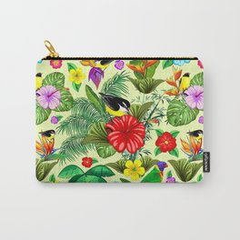 Birds and Nature Floral Exotic Seamless Pattern Carry-All Pouch